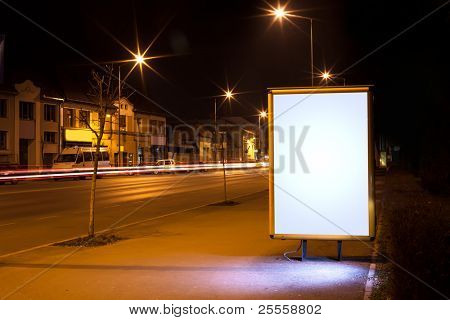 white display advertising with traffic at night 3