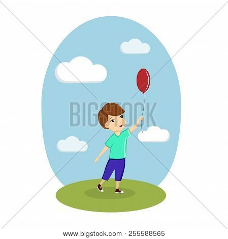 A Boy Is Playing With A Balloon On The Street. Image, Vector, Illustration, Template.