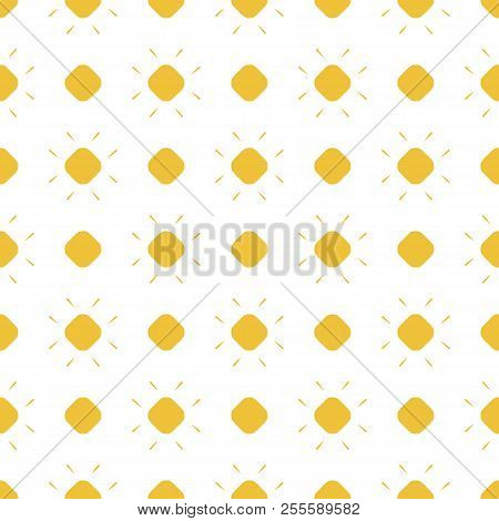 Yellow Dots Vector Seamless Pattern. Simple Geometric Texture With Polka Dots, Circles, Flowers. Ill
