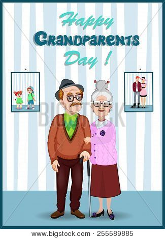 Forever Together Greeting Card. Grandparents Day Cartoon Vector Characters Of Elderly Couple Holding