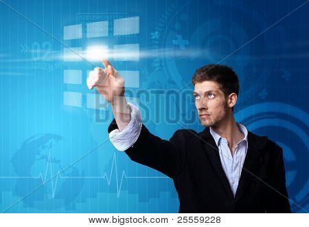A businessman working on modern technology