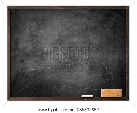World Teacher Day Concept: Old Empty Wood Menu Board With Chalkboard And Eraser Isolated On White Ba