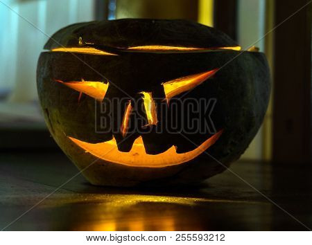 A Turnip With A Carved Face Made For Halloween