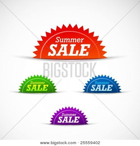 Colorful summer sale badges and tags