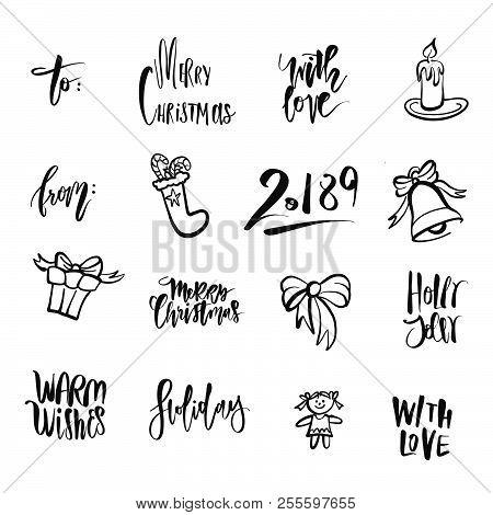 Christmas Icons And Words. Nice Seasonal Calligraphic Artwork For Greeting Cards. Hand-drawn Vector