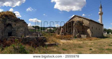Pano of the Uzbek Mosque and Old Madrasah Ruins poster