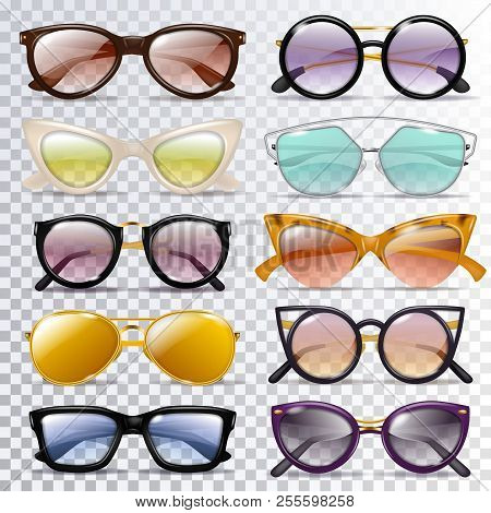 Glasses Vector Cartoon Eyeglasses Or Sunglasses In Stylish Shapes For Party And Fashion Optical Spec