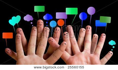 Happy group of finger smileys with speech bubbles 1