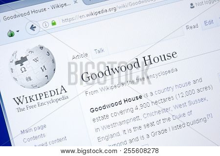 Ryazan, Russia - August 28, 2018: Wikipedia Page About Goodwood House On The Display Of Pc