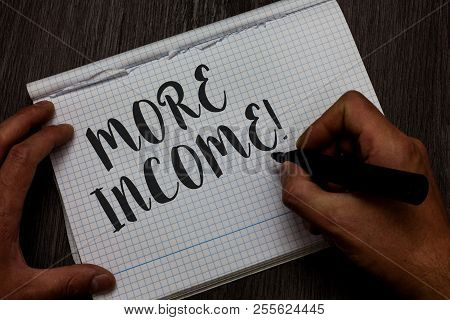 Writing Note Showing More Income. Business Photo Showcasing Additional Money Receives For An Exchang