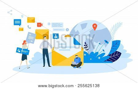 Vector Illustration Concept Of Email Marketing . Creative Flat Design For Web Banner, Marketing Mate