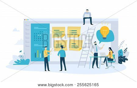 Vector Illustration Concept Of Task Management, Organizer, Schedule, To Do List, Message Board. Crea