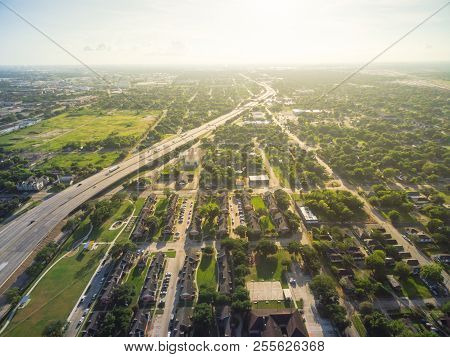 Aerial View Of Residential Houses Neighborhood In Suburban Area Of Downtown Houston, Texas, Us. Tigh