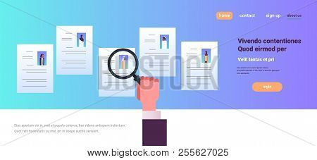 Hand hold magnifying vector photo free trial bigstock hand hold magnifying zoom cv resume choosing arabian people candidate for vacancy job position recru altavistaventures Gallery