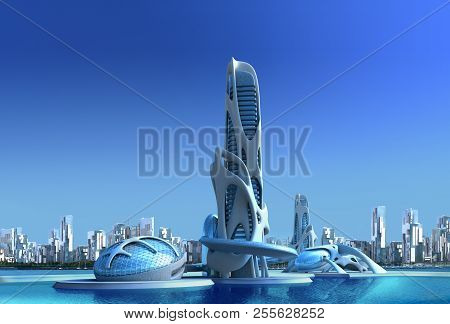 3d Futuristic City With An Organic High Rise Architecture Against A Marina Skyline, For Fantasy And