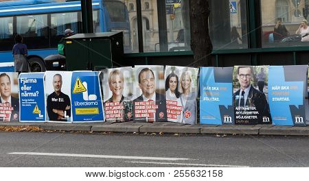 Stockholm, Sweden - Aug 26, 2018: Political Partys Posters Trying To Get Votes During The Election C