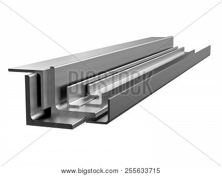 Galvanized steel corner. Rolled metal products. 3d illustration poster