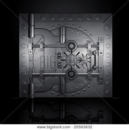 closed bank vault, 3D render