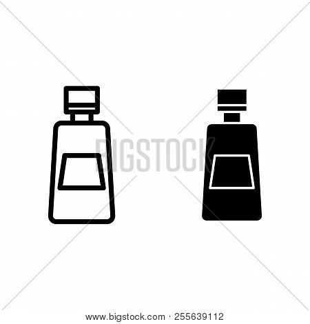 Ketchup Bottle Line And Glyph Icon. Tomato Ketchup Vector Illustration Isolated On White. Bottle Of