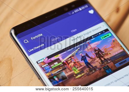 New York, Usa - August 28, 2018: Fortnite Game On Twitch On Smartphone Screen Background Close Up Vi