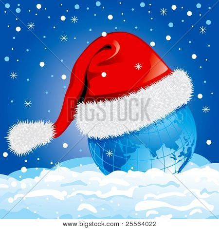 globe in a Santa Claus hat, New Year illustration.