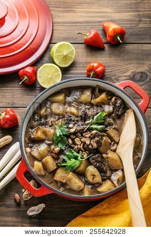 Thai Massaman Curry With Beef And Potato, Top View Copy Space