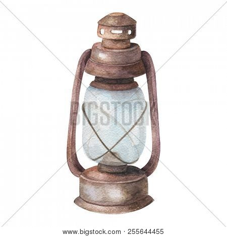 Watercolor old lamp, painting drawing bright old fashioned hand flashlight. Kerosene lamp or candle houses old lamp birthday, wedding Geometric illustration Objects isolated on white background