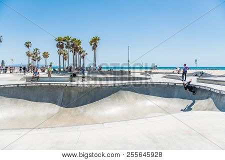 LOS ANGELES, USA - May 15 2018: Beachfront sport facility and skate park, Venice Beach, Santa Monica, Los Angeles, California overlooking the ocean on a hot sunny summer day