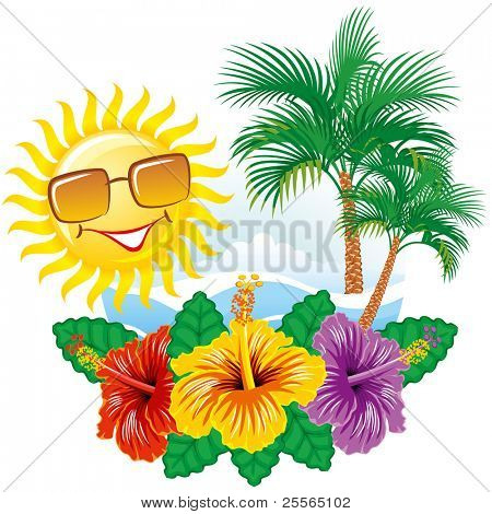 Beautiful vector tropical label width hibiscus