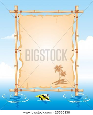 Bamboo Frame with worn Cloth Sign