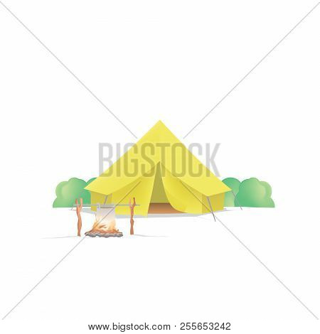 Summer Camp With The Yellow Camp And Campfire On White Background Illustration Vector. Camping Conce
