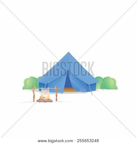 Summer Camp With The Blue Camp And Campfire On White Background Illustration Vector. Camping Concept