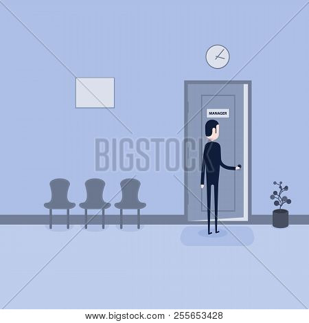 Businessman Opening The Door Of Manager Room.businessman Searching For Job.man Standing Candidate Of