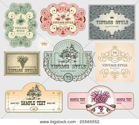 Vintage label set, vector, hand drawn