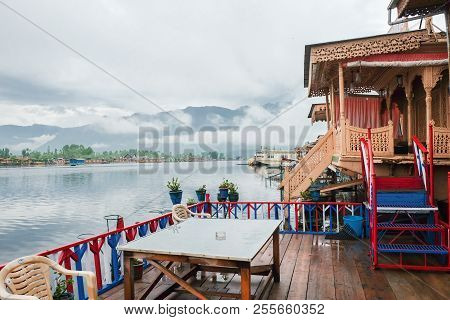 Srinagar,  India - April 25, 2017 : Lifestyle In Dal Lake, People Living In 'house Boat' And Using