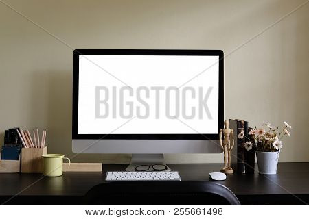 Workspace With Computer Display And Office Tools On Black Table. Desktop Computer Screen Isolated. M