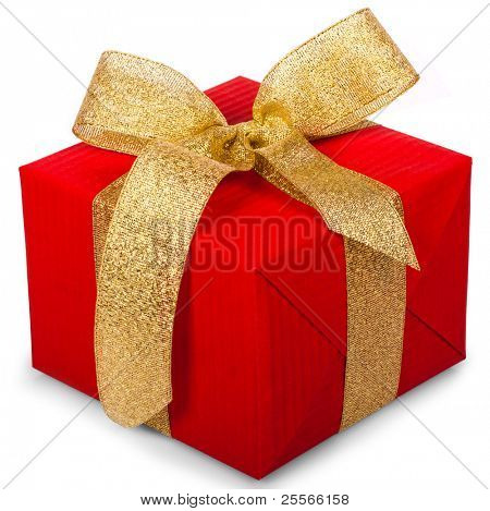 christmas gift box with a gold ribbon bow,  isolated on white background