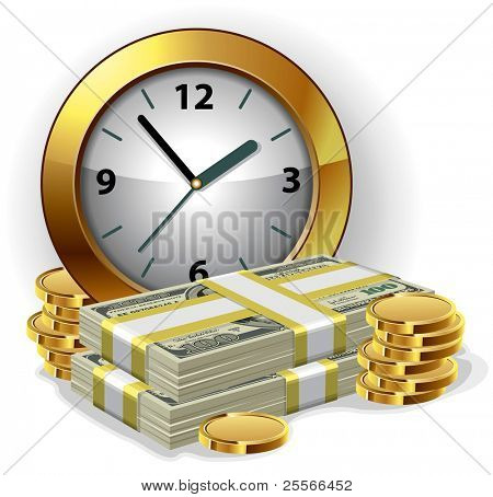 Office Clock and money. Time is money concept. Vector illustration.