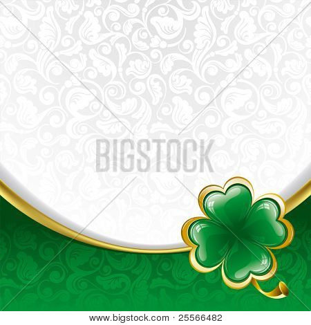 Rich ornate background to St. Patrick's Day with clover