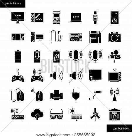Device And Technology Color Line Icons Perfect Pixel. Use For Website, Template,package, Platform. C