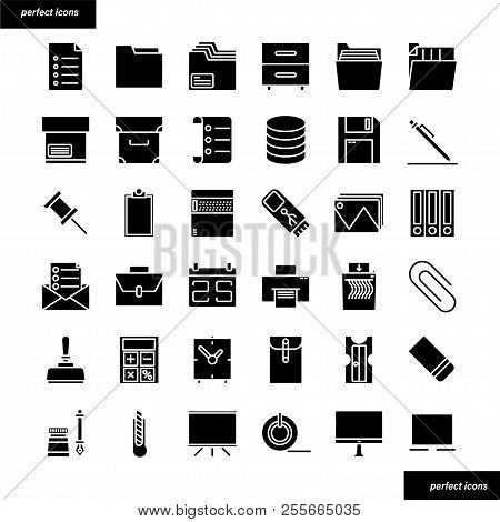 Office Supply Color Line Icons Perfect Pixel. Use For Website, Template,package, Platform. Concept O