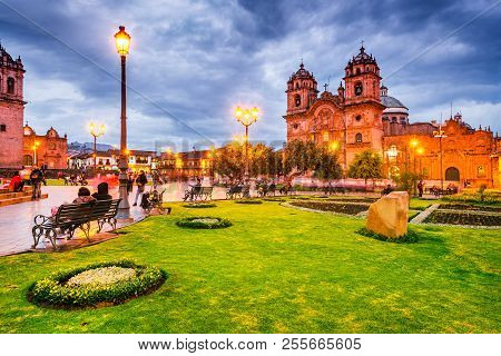 Cusco, Peru - 25 April 2017: Plaza De Armas And Church Of The Society Of Jesus. Andes Mountains, Sou