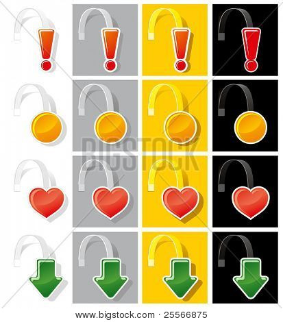 Set advertising wobbler of various shapes and colors. Vector.