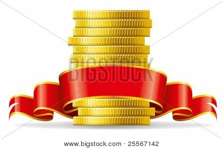 Stack of coins with a red ribbon. Concept of pecuniary profit.