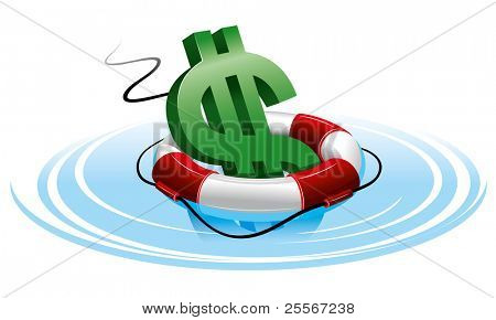 Dollar sign in the lifebuoy. Isolated on white background.