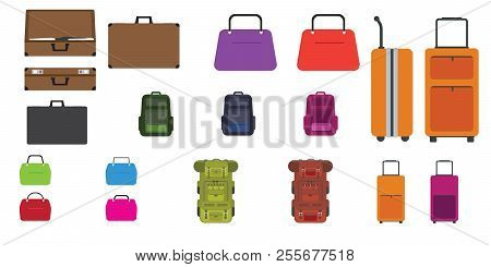 Set Of Bags. Travel Bag, Rucksack, Woman Bag And Other Bags With Flat Design Style. Vector Illustrat