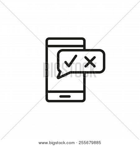 Mobile Satisfaction Survey Line Icon. Evaluation Form, Feedback, Service Rating. Survey Concept. Vec