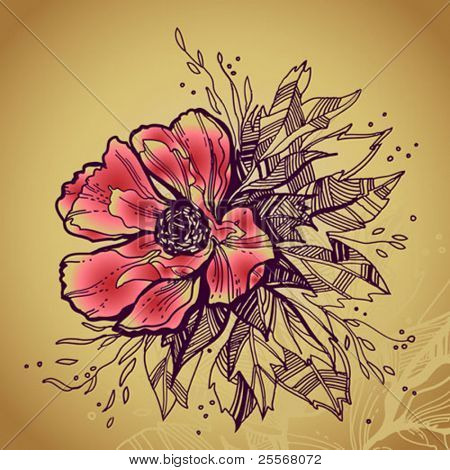 Grunge rose flower high quality drawing