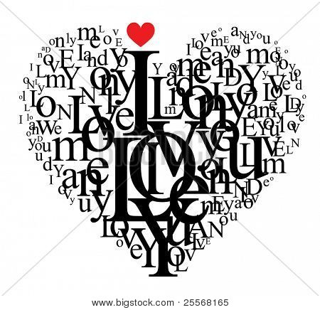 Heart shape from letters - typographic composition - for VECTOR version visit my portfolio poster