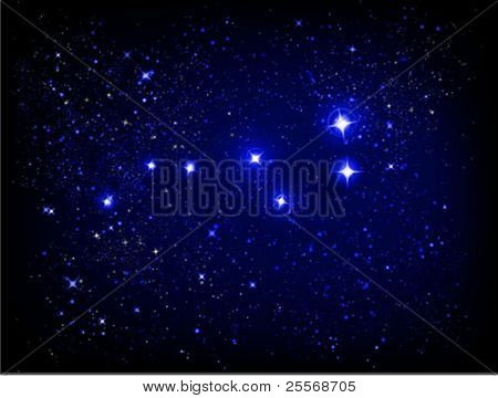 vector starry sky and Ursa Major (Larger Bear) constellation